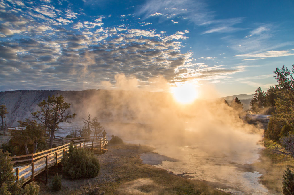 Sunrise at Upper Terrace, Mammoth Hot Springs, Yellowstone National Park, Wyoming | Photo Credit:  Neal Herbert, NPS